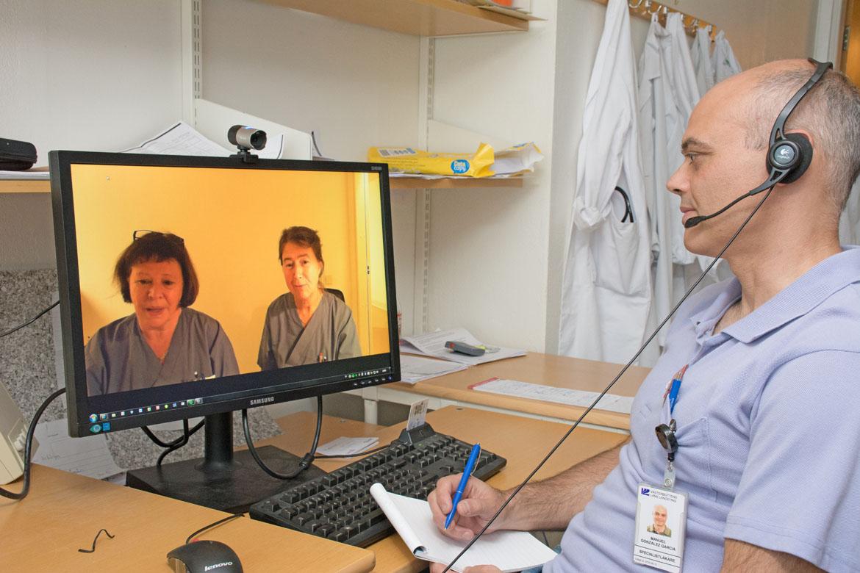 Distriktssköterskor Ann-Kristin Boman, Karin Renklint, läkare Manuel Gonzalez